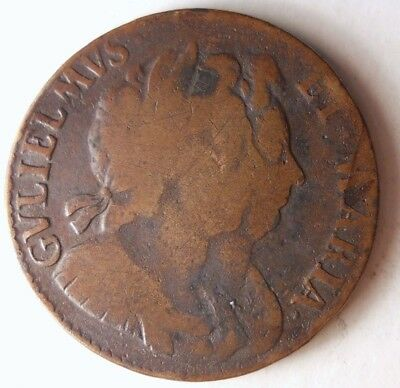 1694 GREAT BRITAIN 1/2 PENNY - William and Mary - Rare Type Coin - Lot #D9
