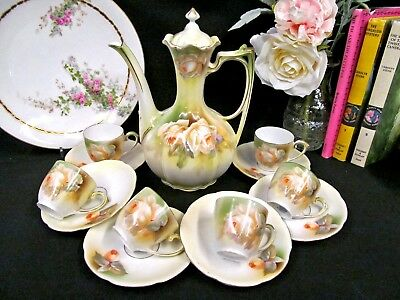 Prussia teapot & cup and saucer set of 6 teacup Germany rose roses set