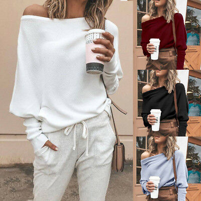 Women One Shoulder Hoodie Sweatshirt Long Sleeve Sweater Jumper Pullover Tops