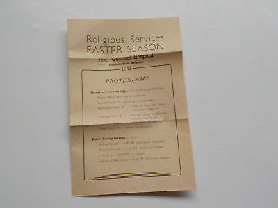 WWII Easter Program 1945 Belgium Jewish Services 76th General Hospital WW2
