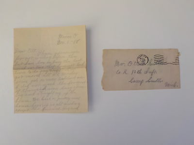 WWI Letter 1918 Flu Doctor Camp Custer Michigan 10th Infantry Marion Ohio WW1