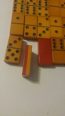 Vintage Set of Domino Set in Dovetail Box 28 pcs Red and off-white. Bakelite?