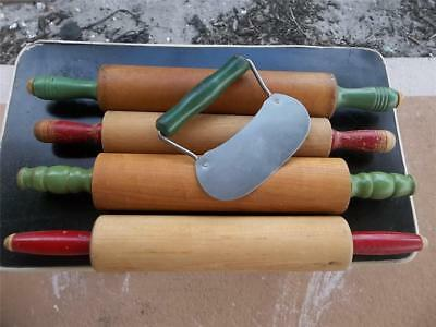 5 Vtg Antique Wood Red & Green Handle Rolling Pins & Dough Cutter