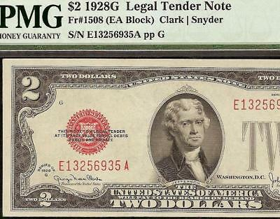 1928 G $2 Two Dollar Bill United States Legal Tender Red Seal Note Pmg 58 Epq