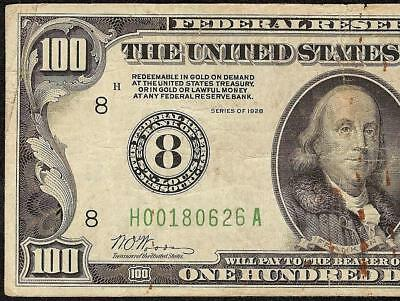 1928 $100 DOLLAR BILL NUMERICAL 8 GOLD ON DEMAND NOTE OLD PAPER MONEY Fr 2150-H