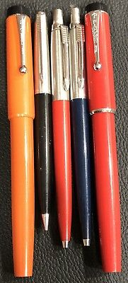 Vintage Ballpoint Pen Lot Parker And Big Red By Parker