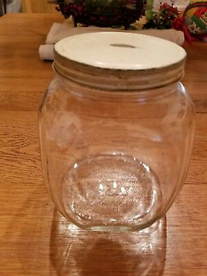 1 Vintage Square Clear Glass Candy Or Cookie Jar With Lid