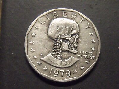 Real Dollar  Hand Carved  Hobo nickel coin  skull zombie skeleton
