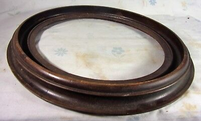 """Antique Hand Turned Wood Oval Picture Frame Beautiful 14""""x12.25"""" Photo Frame"""