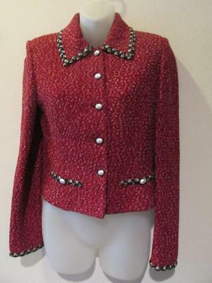 ST. JOHN COLLECTION by MARIE GRAY RED TWEED SANTANA KNIT JACKET Pearl Buttons