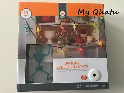 10-Light Dancing Skeleton Light string Set, Halloween Party Lights, 9 ft New