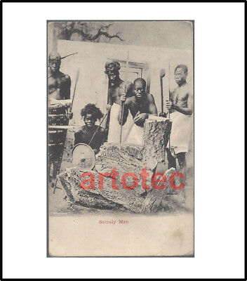 Vintage NICE postcard Somali warriors w spears and shield Africa LOOK RARE