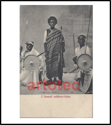 Vintage NICE postcard Somali warriors w spears knives shield Africa LOOK RARE