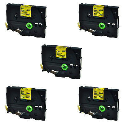 5PK TZ-621 Label Tape Black on Yellow TZe-621 For Brother P-touch PT-1830 9mm*8m