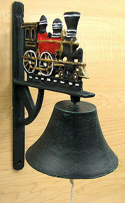 Cast Iron Painted Train with Large Bell  Steam Engine Dinner Bell Collectible