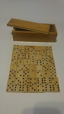 Domino Set Wooden Vintage  Possibly handmade set of 28 with dovetail box