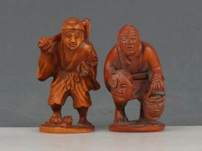 Chinese Exquisite Hand-carved Old man carving Boxwood statue