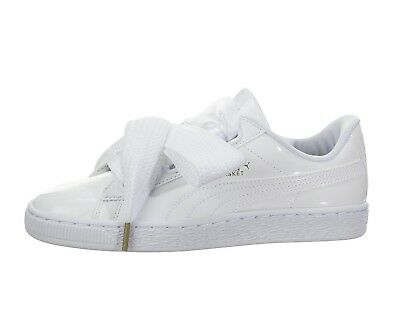 new products 639d8 eaeee NEW PUMA BASKET Heart Patent Leather White Sneaker Shoes 363073-02 Size US 6