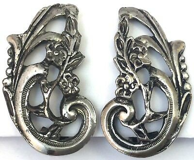Vintage Flower Earrings Silver Repousse Metal Ornate Clip Back Costume Jewelry