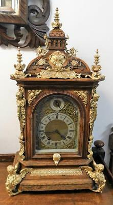 large good quality lenzkirch oak & brass cased 1/4 strike bracket clock