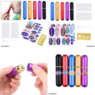 Inhaler Tubes Aluminum & Glass For DIY Essential Oil Aromatherapy Use Refillable