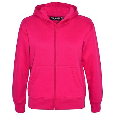 Kids Girls Unisex Plain Fleece Pink Hoodie Zip Up Style Zipper Age 2-13 Years