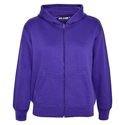Kids Girls Unisex Plain Fleece Purple Hoodie Zip Up Style Zipper Age 2-13 Years