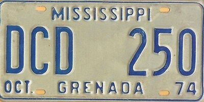 "1974 Genuine Expired MISSISSIPPI  License Plate # DCD 250  ""GRENADA"""
