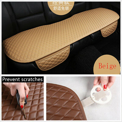 Comfortable High-Quality PU Leather Beige Car Auto Rear Seat Cover Cushion Mat