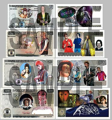 Set Of 4 David Bowie Double Sided Uk Style Notes  (Shipped From Uk)