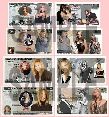 Set Of 4 Barbra Streisand Double Sided Fun Uk Style Notes  (Shipped From Uk)