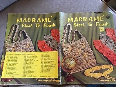 MACRAME START TO FINISH - Vintage Booklet - 12 Items to make, plus tips/ideas