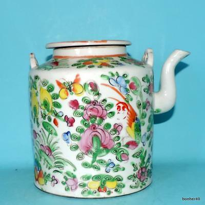 Great Chinese Porcelain 19Thc Antique Imperial Canton Rose Medallion Teapot