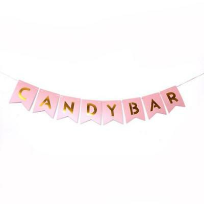 CANDY BAR Pastel Pink&Gold Bunting Banner Wedding Party Hanging Decoration LC