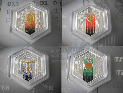 Ukraine - SET of 4 x 5 UAH 2018 SILVER COINS Academy of Science UNC + booklet