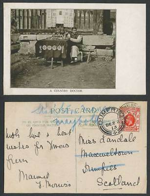 China Shanghai British P.O. HK KG5 4c 1913 Old Postcard A Chinese Country Doctor