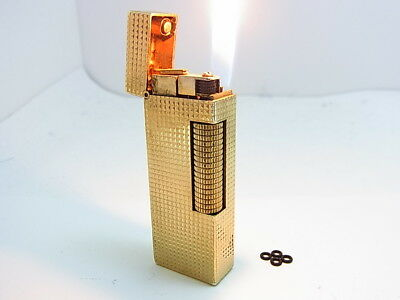Vintage DUNHILL Rollagas Lighter Gold Gas leaks W/4p O-rings Auth Swiss