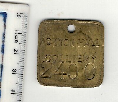 Miners colliery pit. ACKTON HALL BRASS CHECK