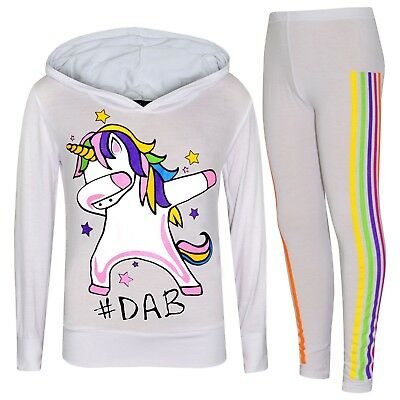 Kids Girls White Unicorn Rainbow #Dab Floss Top Legging Set Xmas Tracksuit 7-13Y