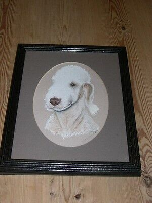 Vintage Bedlington Terrier Dog Painting Signed Framed 1985 J Pickersgill