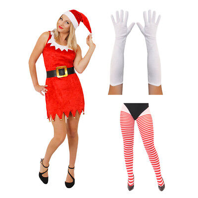 Ladies Miss Santa Dress Red And White Mrs Claus Father Christmas Fancy Dress