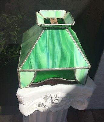 Vintage Arts & Crafts Green Slag & Amber Stained Glass Lamp Shade