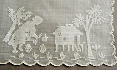 """18c Antique  desk topper silk amazing hand embroidery 16"""" China Japan"""