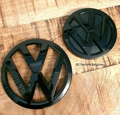 VW Volkswagan MK7 Gloss Black Front Grill & Rear Boot Badge Emblem