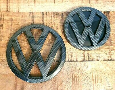 VW Golf MK7 VII Carbon Fibre Black Front Grill Rear Boot Badge [Fits 2012-2017]