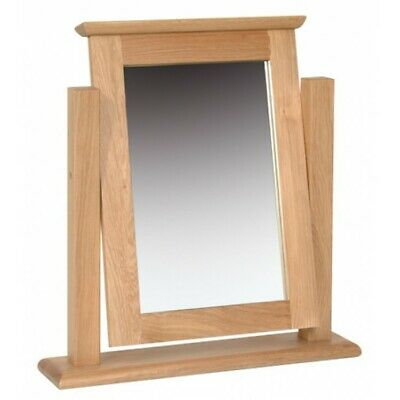 Norton Oak Furniture Oak Wood Framed Dressing Table Top Swivel Vanity Mirror