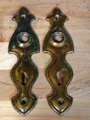 2 Antique Vintage Art Deco Door Knob Lock Key Hole Plate Parts