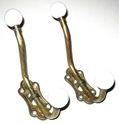PAIR of Vintage BRASS Tone Wall Mount Double Hooks with White Knobs Hats & Coats