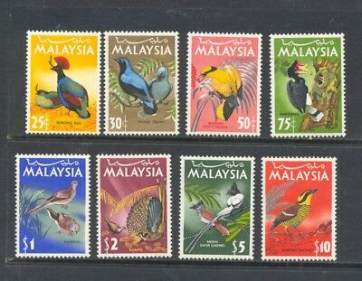 MALAYSIA , 1965 , BIRDS set of 8 stamps , MNH  , a little discolouring on backs