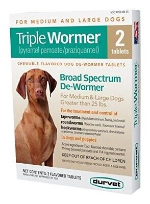 Durvet Triple Wormer 2-Pack for Medium and Large Dogs 25 lbs. and Greater